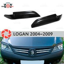 Брови для Renault Logan 2004-2009 для фар ресницы пластиковые ABS молдинги Декоративные Накладки для отделки автомобиля Стайлинг
