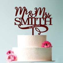 Customized wooden acrylic wedding cake topper with love date Personalized last name Wedding