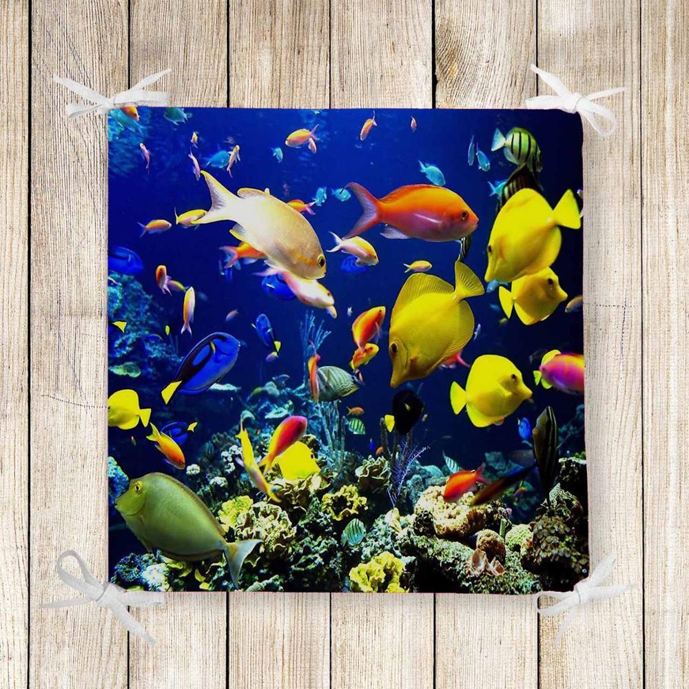 Else Tropical Fishes Under Sea Aquarium Print Chair Pad Seat Cushion Soft Memory Foam Full Lenght Ties Non Slip Washable Zipper