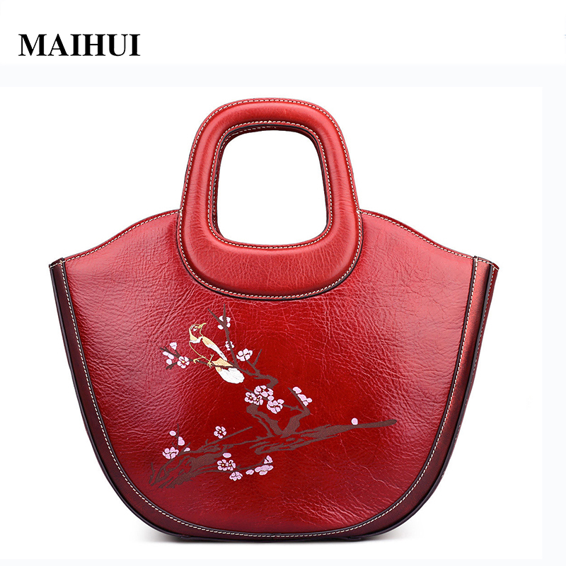 MAIHUI Women leather handbags high quality real cow genuine leather bags new chinese style flower floral shoulder half moon bags women leather handbags high quality real cow genuine leather bags new fashion chinese style floral shoulder bag casual tote bag