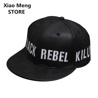 2017 Fall Winter PU Leather Baseball Caps Men Fitted Cap For Men And Women Adjustable Snapback