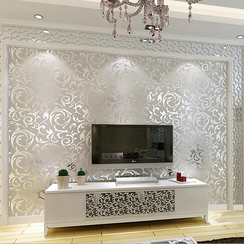 New Luxury Silver Grey Golden Reflective Wallpapers Living Room