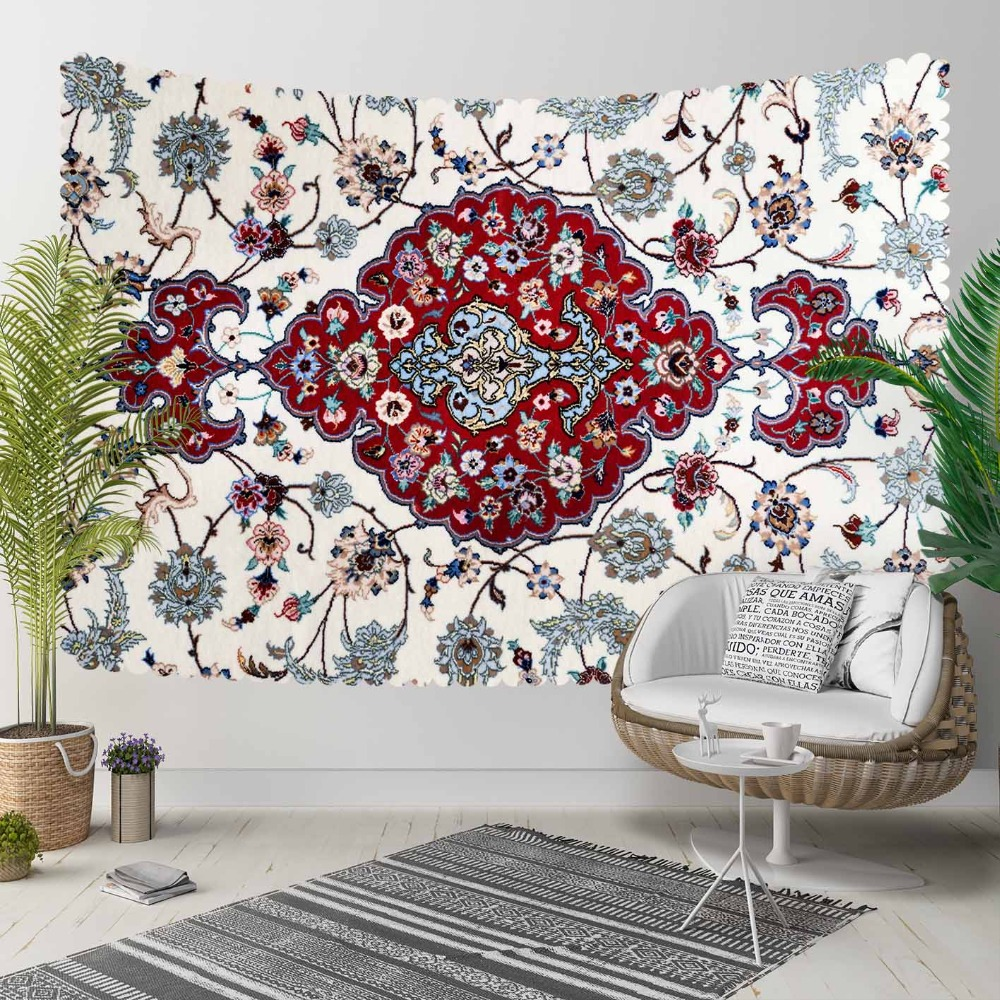 Else White Red Persian Tradional Ethnic Blue Floral 3D Print Decorative Hippi Bohemian Wall Hanging Landscape Tapestry Wall Art