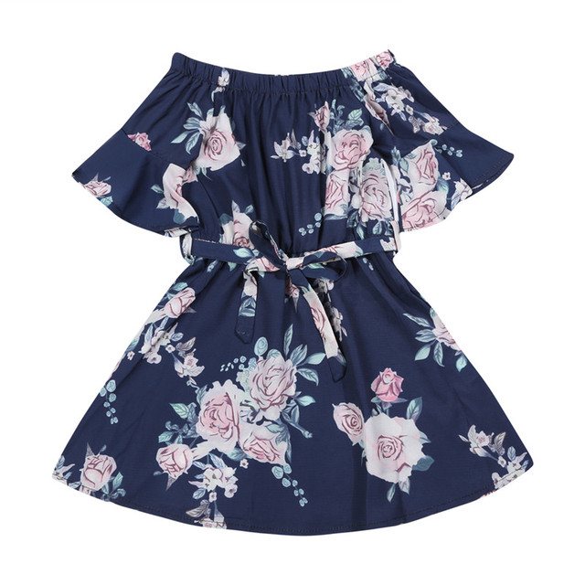 Mother Daughter Family Matching Outfits Off Shoulder Floral Dress Summer Chiffon Girl Women Boho Loose Dresses Sundress Z3 1