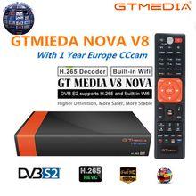 GTMedia V8 Nova DVB-S2 Freesat спутниковый ресивер H.265 встроенный WI-FI + 1 год Европа ES CCcam лучший HD 1080 ТВ окно обновления V8 супер