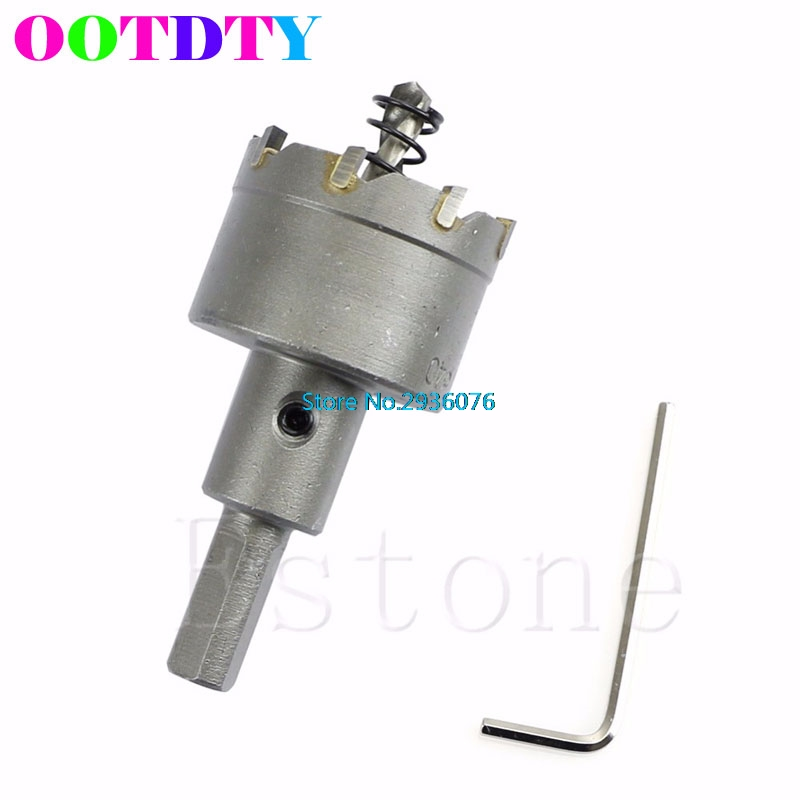 OOTDTY Durable 40mm Carbide Tip TCT Drill Bit Hole Saw Set Stainless Steel Metal Alloy APR3 stones bricks concrete cement stone 50mm wall hole saw drill bit 200mm round rod