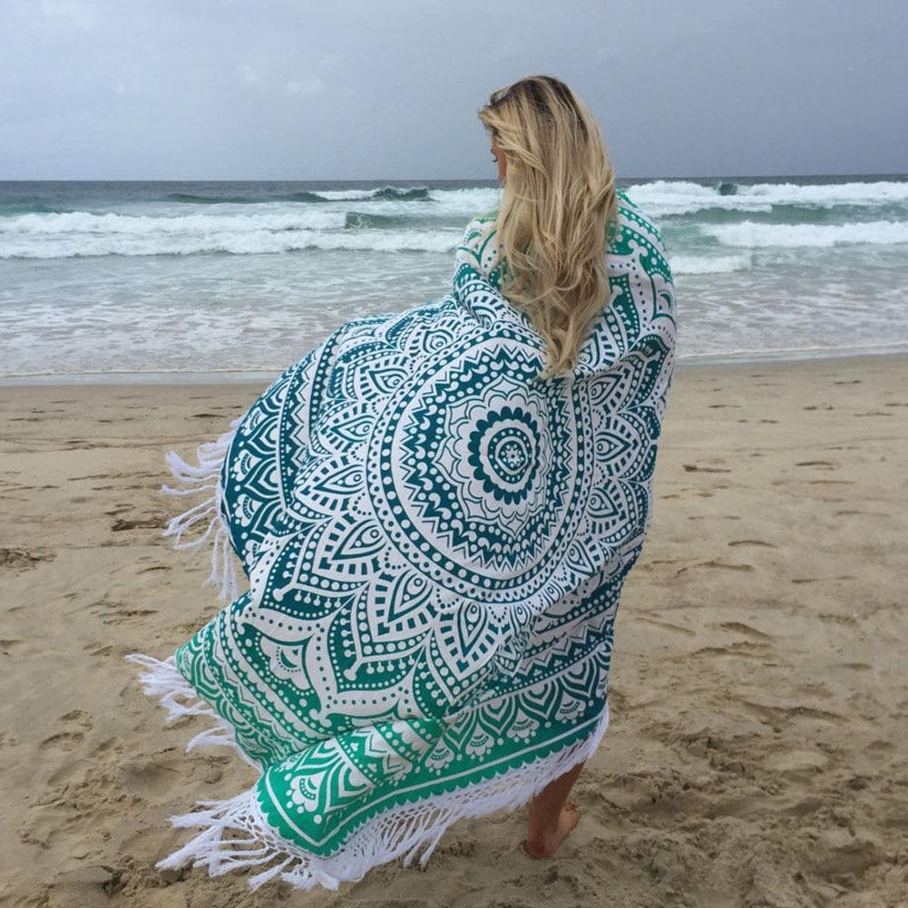 2017 new Round Mandala Beach Towel Tassel Fringing Throw Mat Table Cloth Wall Tapestries 4 colors