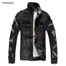 MORUANCLE 2017 New Spring Autumn Men's Ripped Jeans Jackets Distressed Denim Trucker Jackets Coat For Male Pink Red Size S-XXXL