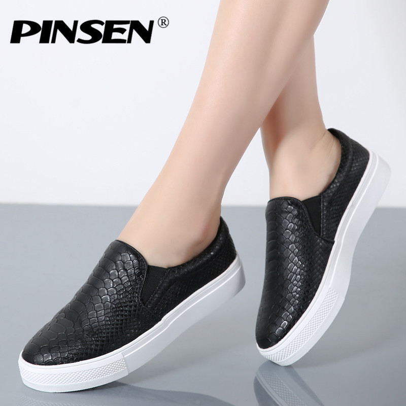 PINSEN Women Flat Platform Shoes Vintage Black Leather Comfortable Causal Slip On Loafers Ladies Shoes for Women Flats Moccasins