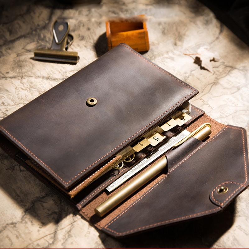 2019 Yiwi Handmade Retro Tri-fold Bag  Genuine Leather Planner A6 Loose Leaf Diary Binder Notebook