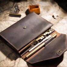 Yiwi sac à trois plis, fait à la main, en cuir véritable, planificateur de feuille ample A6, classeur pour journal intime, cahier, 2019