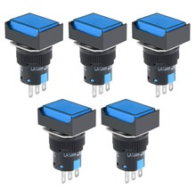 UXCELL 5Pcs Switches 16mm Latching Push Button Switch Blue Square DPST 1 No NC Accessories Electrical Equipment