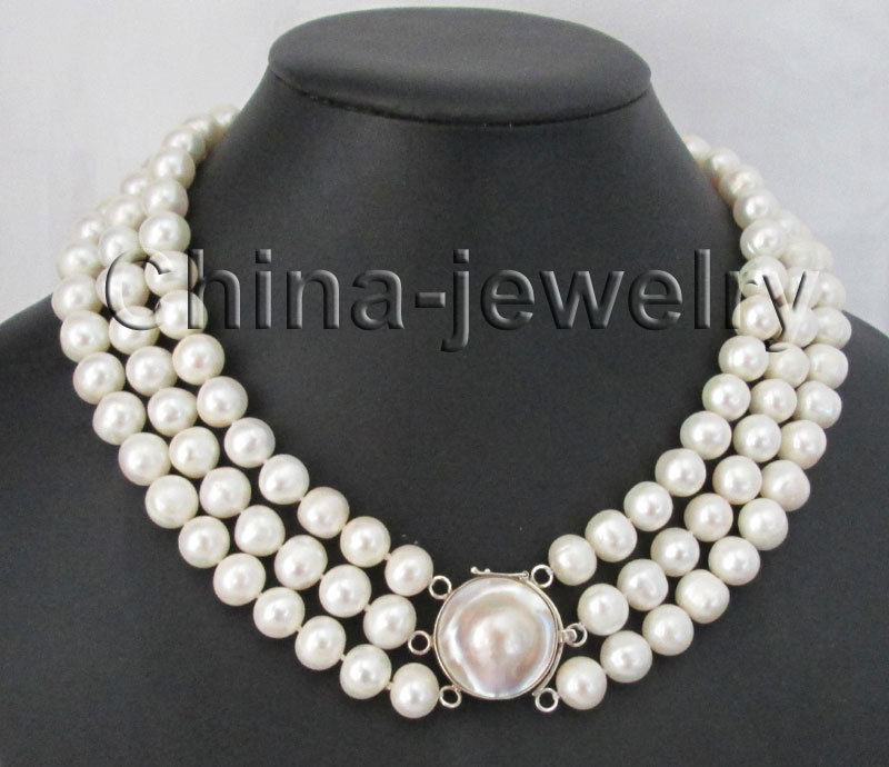 17-19 3row 10-11mm white round freshwater pearl necklace - 925 mabe Email to frie>>>girls choker necklace pendant Free shipping17-19 3row 10-11mm white round freshwater pearl necklace - 925 mabe Email to frie>>>girls choker necklace pendant Free shipping