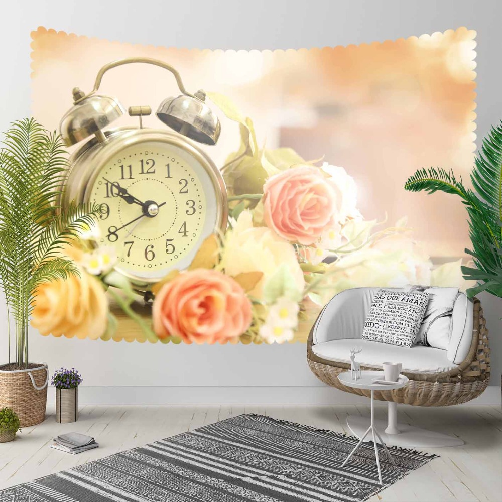 Else Vintage Yellow Pink Roses Old Alarm Clock 3D Print Decorative Hippi Bohemian Wall Hanging Landscape Tapestry Wall Art
