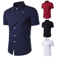 2017 Summer Brand New Stylish Men Shirts Summer Turn Down Collar Short Sleeve Button Dress Shirt