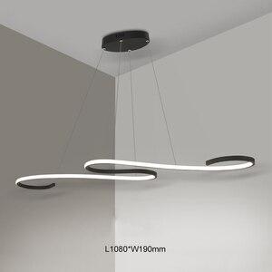 Image 3 - S Shape Black or White Finish Modern led chandeliers for Dining Room Kitchen Room Hanging Pendant chandelier fixtures 110V 220V