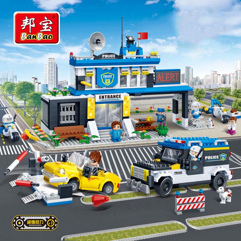 BanBao Police Station Boy Building Blocks Toys For Children City Hero Cars Truck Moto Stickers Compatible With Legoe bohs building blocks city police station coastal guard swat truck motorcycle learning