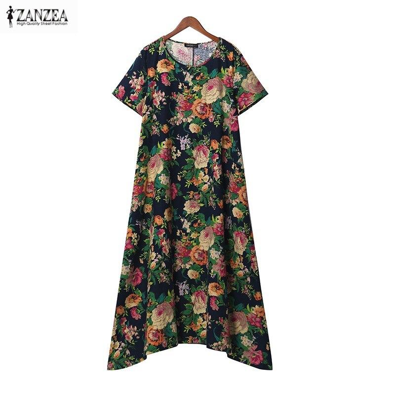 ZANZEA 2018 Summer O Neck Floral Print Short Sleeve Women Tunic Baggy Vintage Party Kaftan Maxi Long Dress Vestido Plus Size
