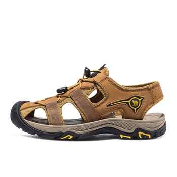 CAMEL Men Genuine Leather Casual Outdoor Sandals Light Anti-Collision Durable Waterproof Breathable Male Beach Sandals