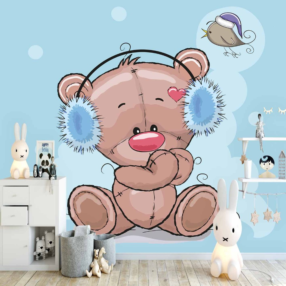Else Blue Snow Teddy Bear Headphone Bird Heart 3d Print Cartoon Cleanable Fabric Mural Kids Children Room Background Wallpaper
