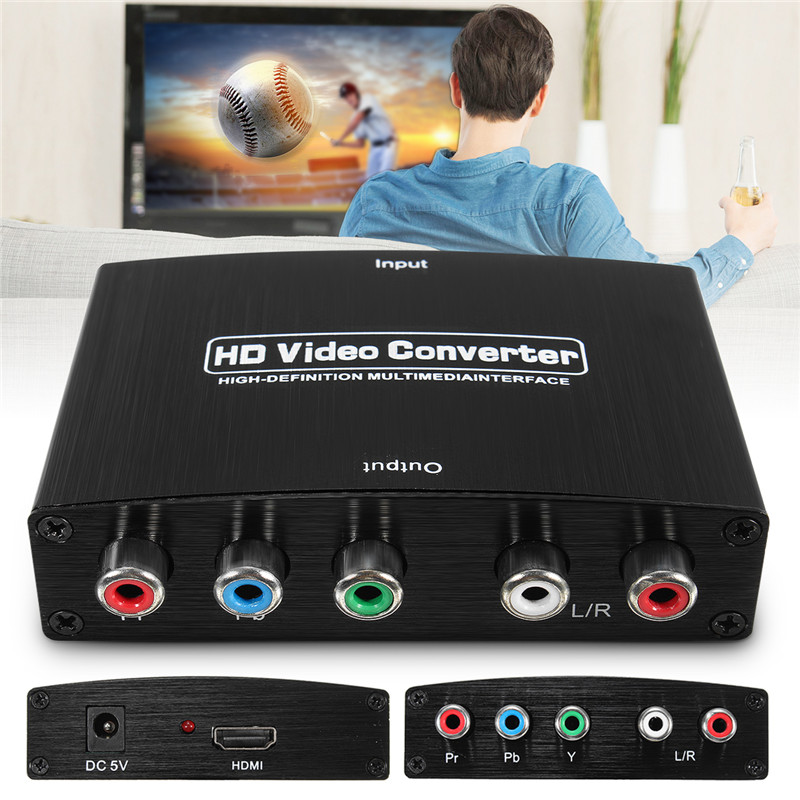 HDMI HDTV Video Audio 4K HD Stereo Converter HDMI to RCA Adapter Converter L/R 5 RCA Ypbpr Component With Power Supply vention hdmi to dvi converter full hd 1080p audio converter adapter with dual audio interface for hdtv projector drop shipping