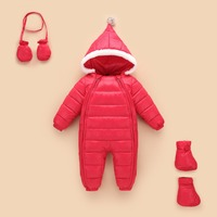 Newborn Baby Down Cotton Rompers+Gloves+Socks Sets Winter Baby One Piece Jumpsuits Thick Hooded Outwears Wua70819005