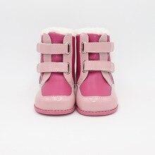 Tipsietoes 2018 новые зимние Детские Босиком обувь кожаные ботинки martin детские зимние для девочек и мальчиков Резиновая мода розовы