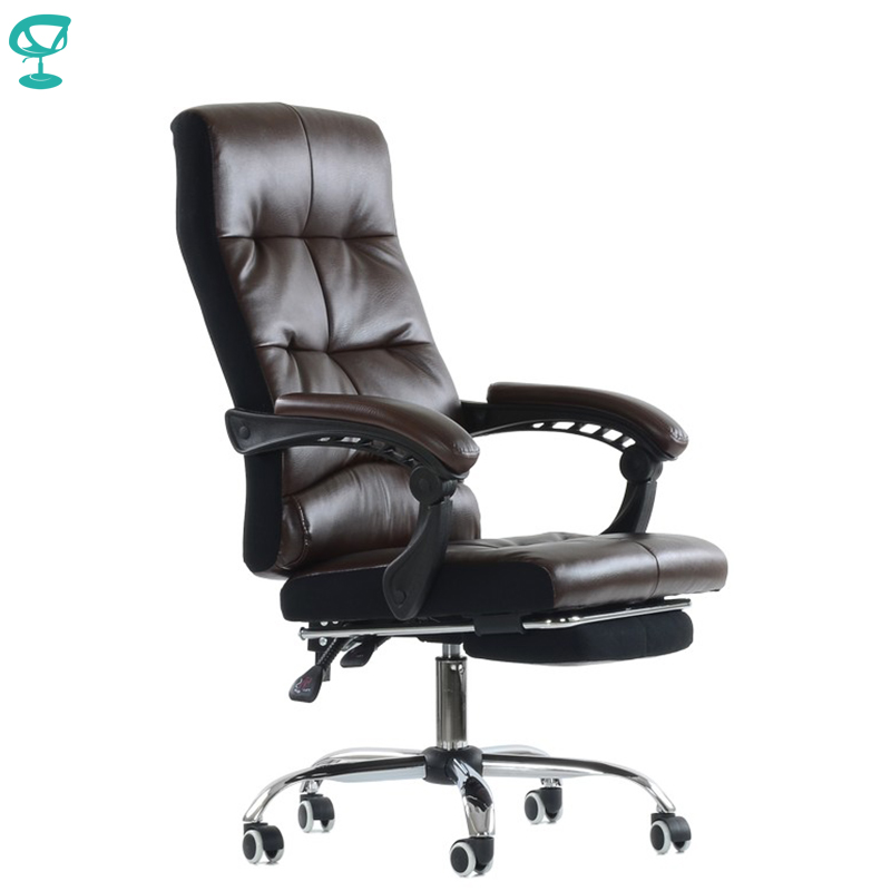K43PuBrown Office Chair Barneo K-43 Leather High Back Plastic Armrests With Gas Lift Roller Free Shipping In Russia