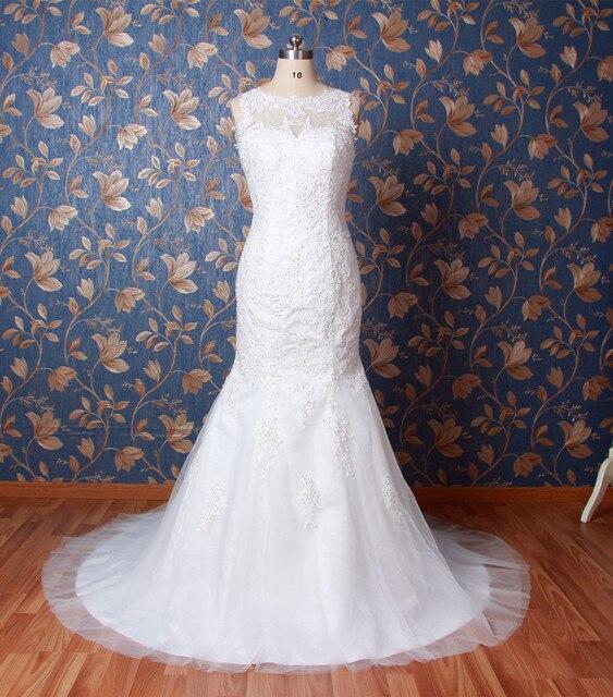 Real Sample Illusion Hals Spitze Meerjungfrau Hochzeitskleid China ...