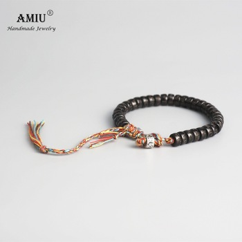 AMIU Tibetan buddhist Braided Cotton Thread Lucky Knots bracelet Natural Coconut Shell Beads