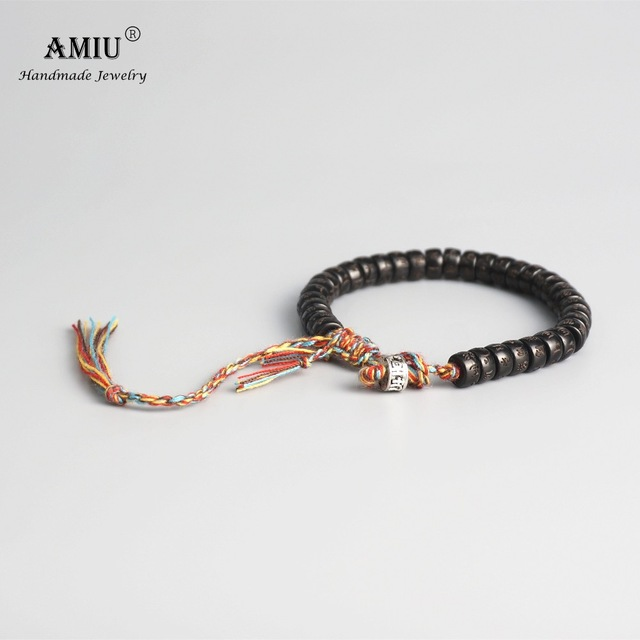 AMIU Tibetan buddhist Braided Cotton Thread Lucky Knots bracelet Natural Coconut Shell Beads