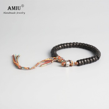 AMIU Tibetan buddhist Hand Braided Cotton Thread Lucky Knots bracelet Natural Coconut Shell Beads Carved Handmade Bracelet buddhist rope bracelet