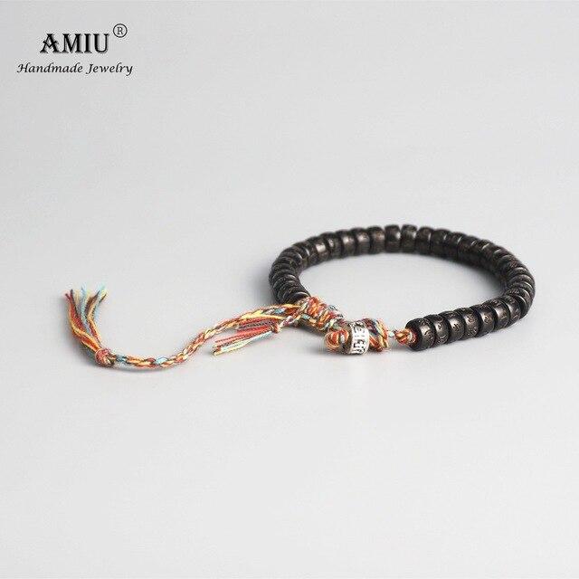 AMIU טיבטי בודהיסטי קלוע כותנה חוט מזל קשרים צמיד טבעי קוקוס מעטפת חרוזים מגולף בעבודת יד צמיד לגברים