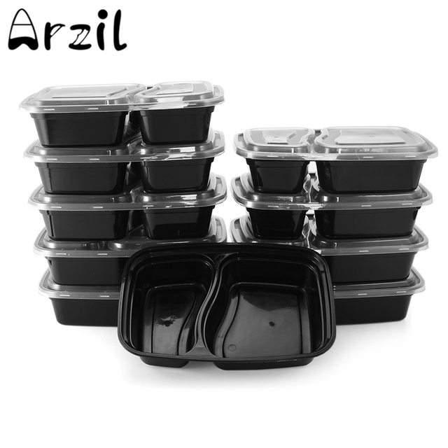 10Pcsset 2 Compartment Food Storage Container Disposable Microwave