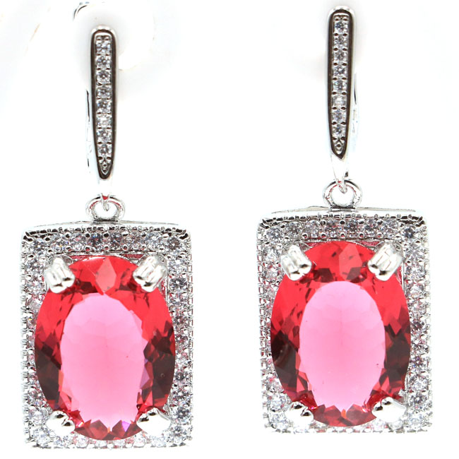 2018 New Arrival Pink Tourmaline Natural CZ Gift For Girls 925 Silver Earrings 36x15mm