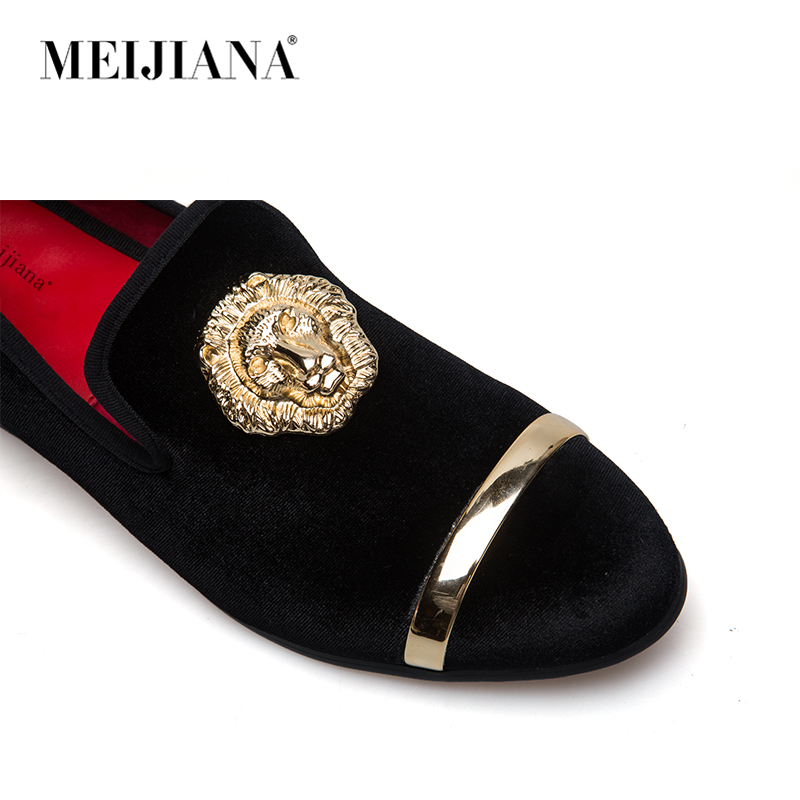 Mode Haut La Noir Métal Chaussures À En Mocassins Velours Nouveau Robe Italien Mens Or Main bleu Et Orteil rouge Hommes OPkZiXu