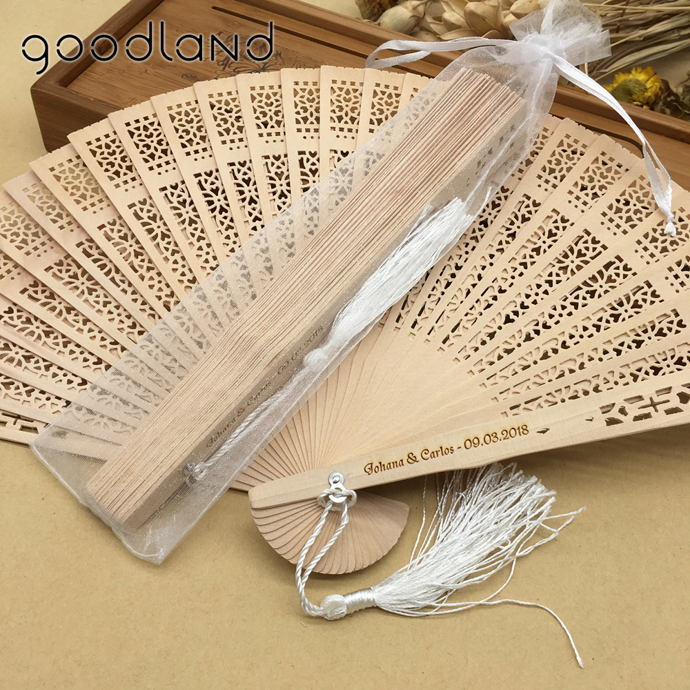 Free Shipping Wholesale 50pcs/lot Wood Handle Fabric Folding Hand Fan in Organza Bag Wedding Invitations Wedding Decoration