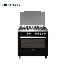 90см, Конвекция, Плита газовая HIBERG FGG 950-25 MB с газовой духовкой, газовый гриль, обьем духовки 111л, стол нержав.