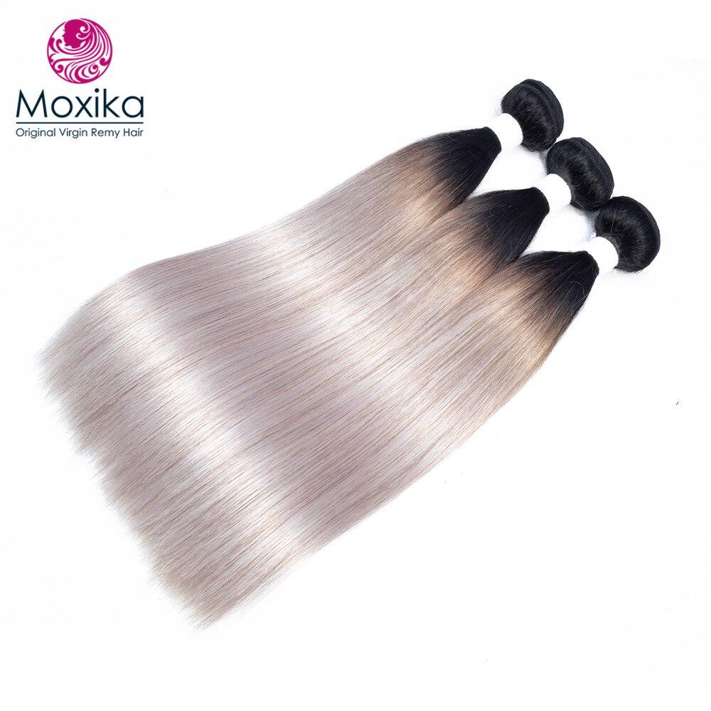 Moxika 1b grey Brazilian hair weave Bundles omber 100 Straight Human Hair Weaves Extensions Remy 10