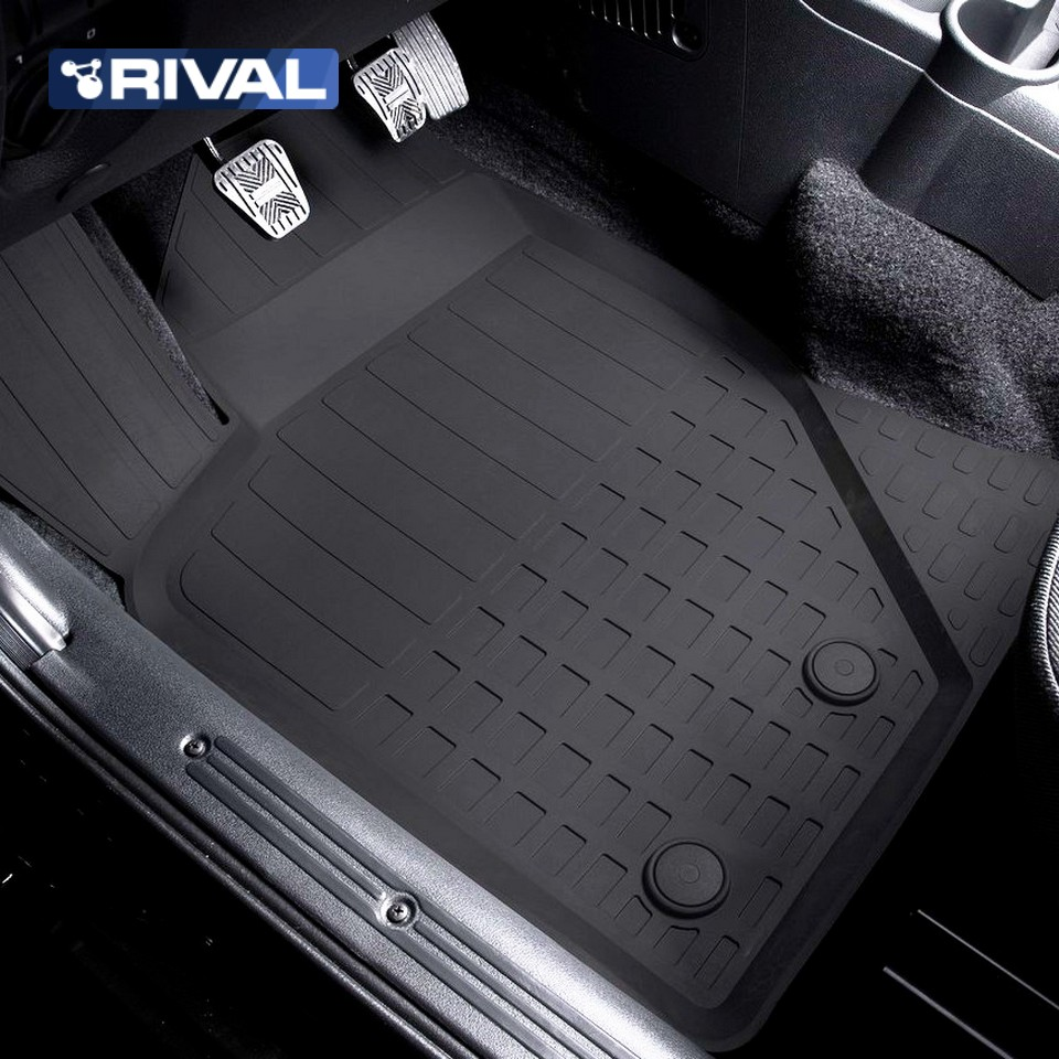 купить For Lada Granta 2011-2018, 2018-> Injection mats in salon 5 шт/компл. (rubber) [Rival 66001001] дешево
