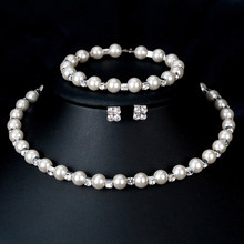 Elegant Women Faux Pearl Necklace Bracelet Stud Earrings Jewelry Set Party Gift(China)