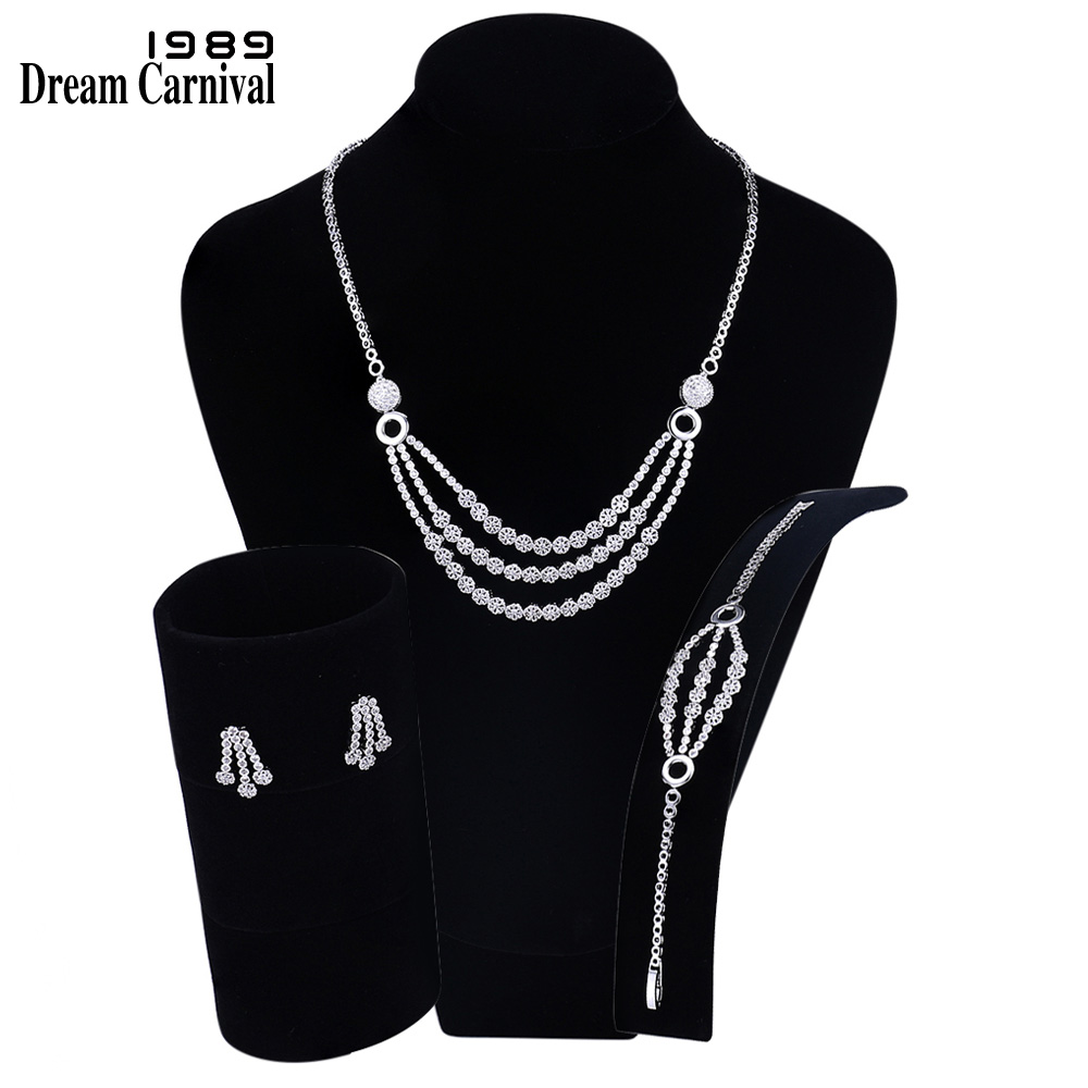 DreamCarnival 1989 Luxury Dress Bridal Jewelry 3-row Crystals Design Women Cubic Zirconia Wedding Set Parure Bijoux FSW00285DreamCarnival 1989 Luxury Dress Bridal Jewelry 3-row Crystals Design Women Cubic Zirconia Wedding Set Parure Bijoux FSW00285