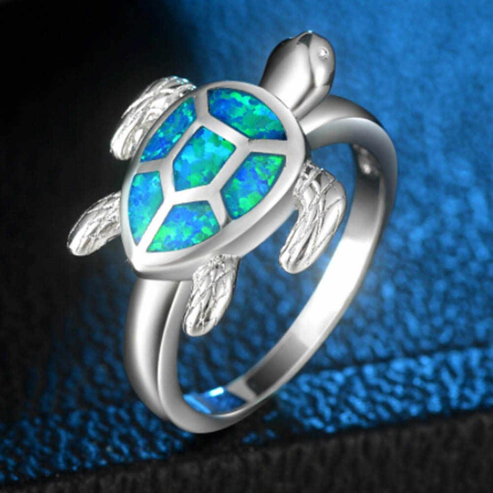 Уникальная черепаха огненный опал животных Кольца для Для женщин обручальное Модные украшения Винтаж заполненные коктейль Симпатичные кольцо