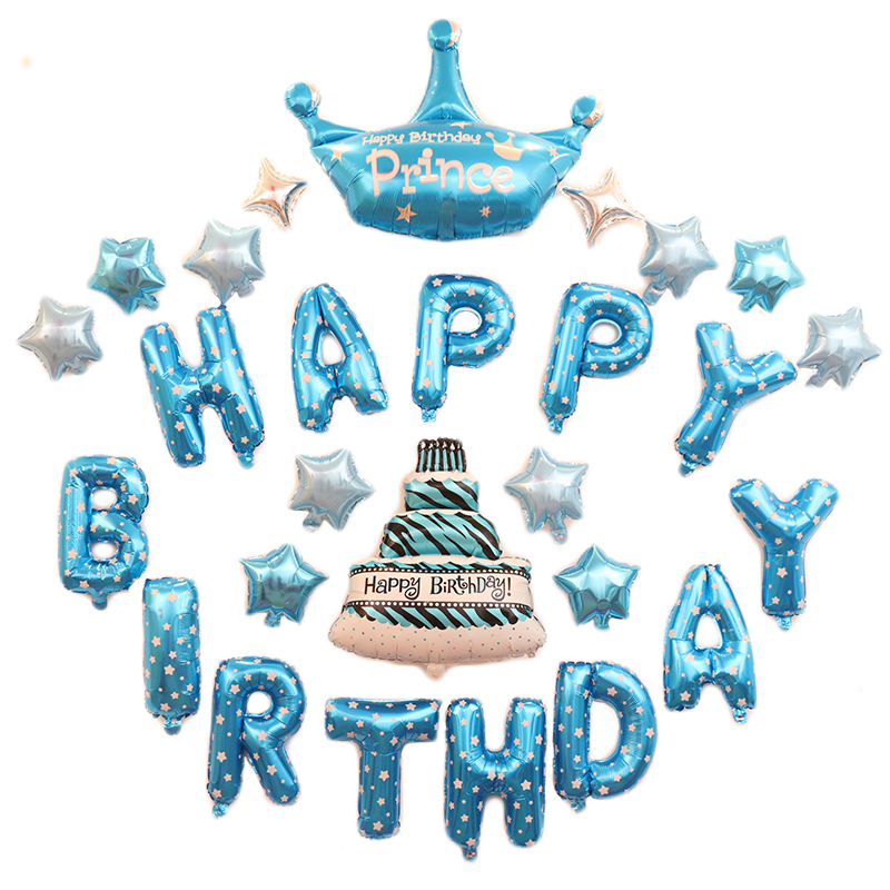 23PCS HAPPY BIRTHDAY Balloons Crown Foil For Boy Birthday Party Festival Girl Decorations