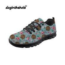 Doginthehole Black Labrador Dog Pattern Walking Sport Shoes for Women Sneakers Mesh Breathable Shoe Zapatillas Mujer Deportiva