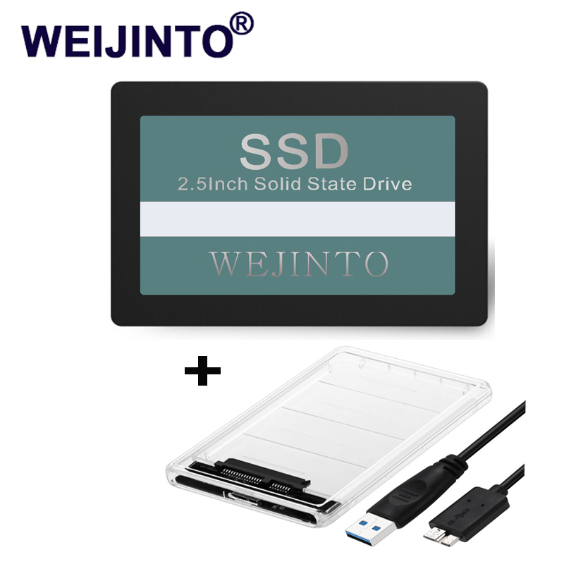 Weijinto SSD 60GB 120GB 240GB SATA3 III 2.5 Internal Solid Disk 64GB 128GB 256GB & SSD Case Sata to USB 3.0 Adapter Enclosure
