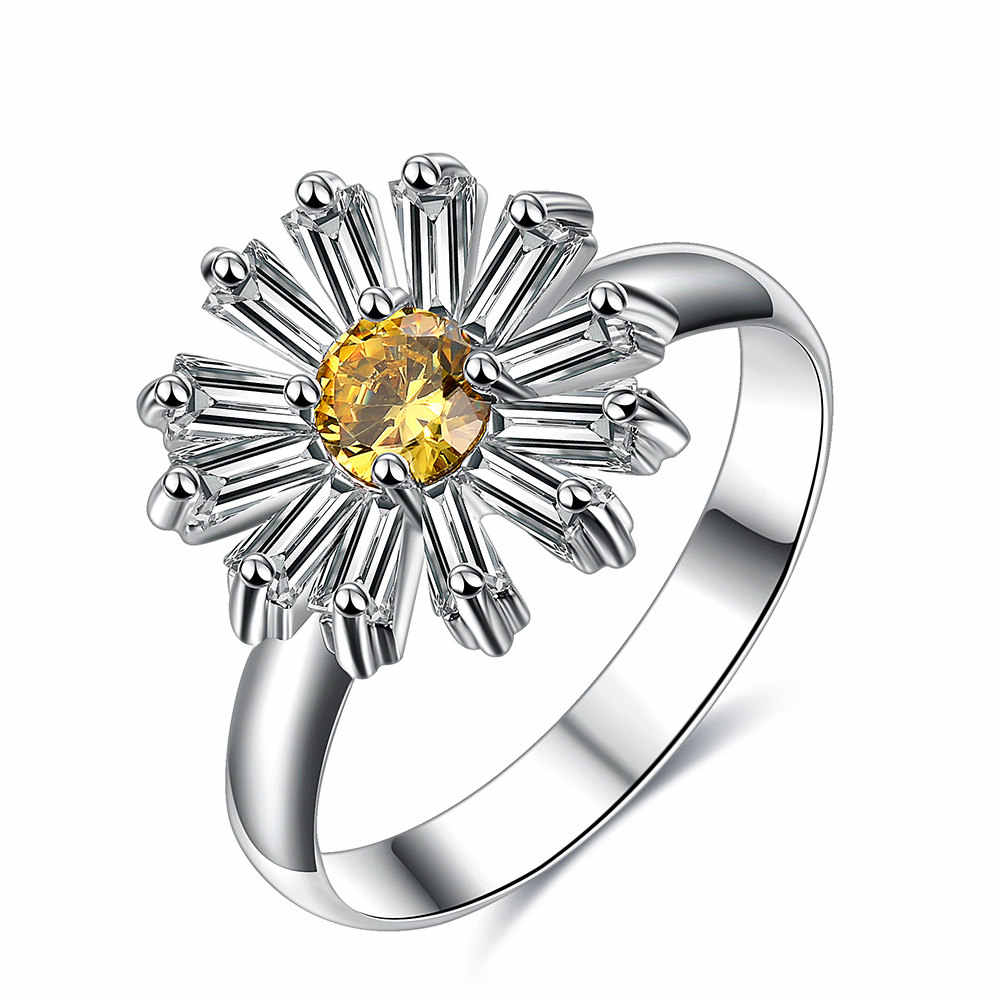Flowers Finger Rings Dazzling Daisy Meadow Ring Fresh Sun Chrysanthemum For Woman Wedding Jewelry The New Arrival B2