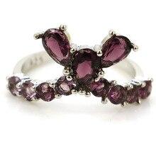 купить!  7.25 # Роскошный топ AAA + фиолетовое аметистовое обручальное женское серебряное кольцо 22x12 мм дешево!