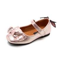 2017 תינוק חדש אופנה בנות ילדי סתיו נעליים אחת קטנות להראות נסיכה ורוד זהב כסף נעלי עור נעלי ילדים