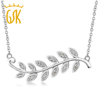 Diamond Olive Branch Leaf Rhodium Plated Necklace 16 Cable Chain 1 Extender